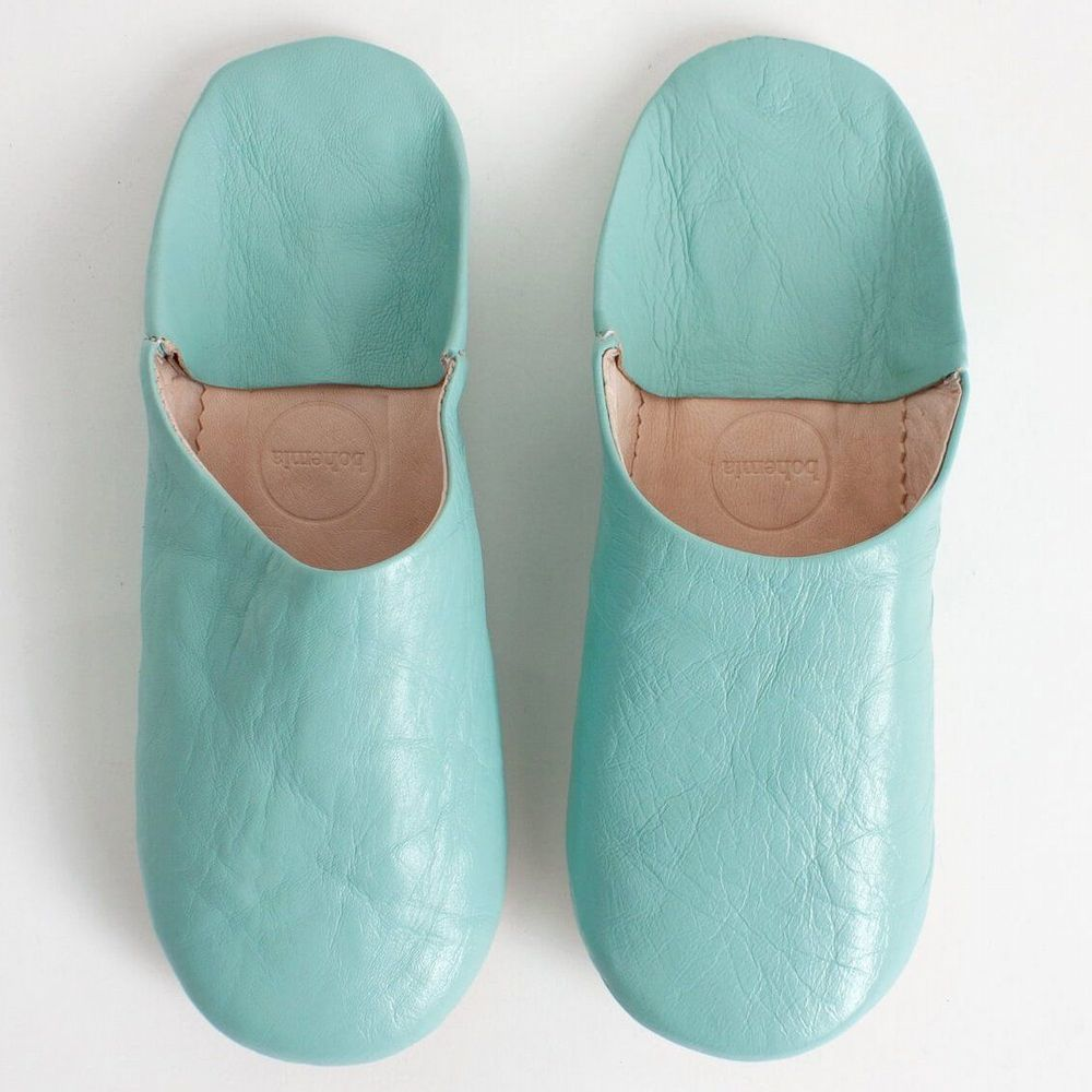 Women's Slippers - Leather Mules - Duck Egg